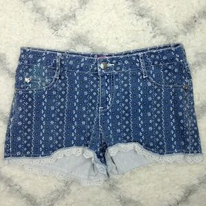 Betsey Johnson denim shorts with lace trim